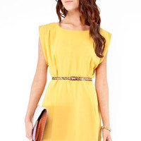 Drop Box Pleat Dress in Mustard :: tobi