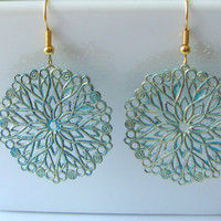 Gold Filigree Earrings with Copper and Irish Blue by MaisJewelry
