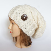 Wool white slouch hat women - beanies hat - Slouch Beanie - Large hat - chunky hat - Chunky Knit Winter Fall Accessories , Slouchy hat