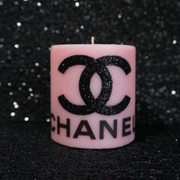 Pink and Black CC Coco Chanel Candle