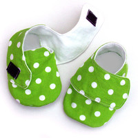 Baby Shoes, Sneakers Style, Size 0-6 Months In Lime Dots | Luulla