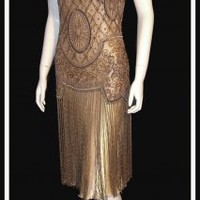 The Millie Antique Gold : Beaded 1920's Style Gowns, Art Deco Gowns, 20's Flapper Fringe Dresses, Vintage Daywear, Hollywood Reproductions..... from LeLuxe Clothing