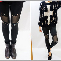 Sandysshop — Black Studded Mesh Leggings