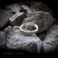 Carpe Diem 925 Sterling Silver Ring - Sizes 4-9