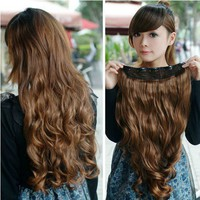 Hot new free shipping one piece long curl/curly/wavy hair extension clip-on 146