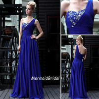2013 One shoulder Royal blue prom dress Long Prom dress, V neck, Beading prom dresses, Evening dresses