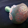 Large Green Glass Pipe Layered Color with Etched Celtic Knot Tobacco Spoon Pipe