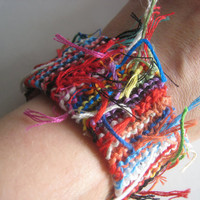 RAINBOW Chaos WRIST CUFF  Bracelet  Wrist Warmer  by greenyogini