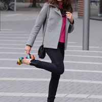 "Heather Gray Cos Jackets, Hot Pink Zara Shirts, Black Madonna For H&M Pants | ""Rainbow Heels"" by veraverita - Chictopia"