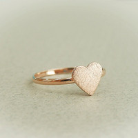 Rose gold heart ring, heart adjustable ring, pinkie ring, kunckle ring. everyday jewelry, gift ring, novelty ring