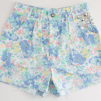 Floral Studded Shorts Vintage Distressed High Waisted by floralfireworks