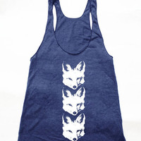 3 CLEVER Fox American Apparel Womens Tank Tri-Blend Indigo Tank available in XS, S, M, L