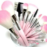 16 Piece Pink Synthetic Vegan Makeup Brush Set with Pink Makeup Bag
