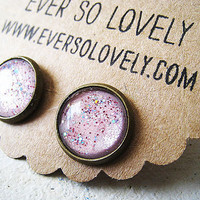 fairy tale earrings handmade light pink sparkly metallic by eversolovely