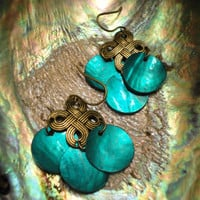 Holiday Turquoise Shell Earrings by MajaEarrings on Etsy