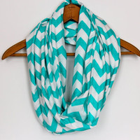 TIFFANY Blue - SOFT Chevron Infinity Scarf -  Zig Zag - Loop Jersey Knit Scarf - Circle Scarf