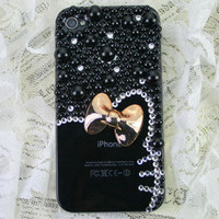 Hello Kitty Clear iPhone 5 case with ribbon, pearl, Black Rhinestones, White Crystals , iPhone 4S / 4 Case for woman - 100019