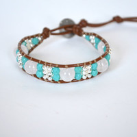Rose Quartz and Turquoise Czech Leather Beaded Wrap Bracelet