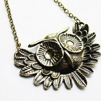 Vintage Style Owl Necklace Antiqued Brass