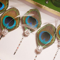 5 Peacock Feather Hair Pins