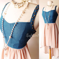 Denim Bustier Beige High...