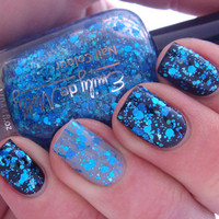 Glitter nail polish  Shattered Sapphire blue by EmilydeMolly