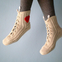 Cream Slipper Socks Lacing Slippers for Women