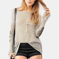 Gold Patching Sweater - Ivory/Gold