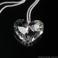 Truly In Love Crystal Clear Swarovski Heart by whimsydaisydesigns