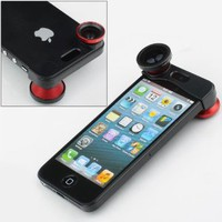 Red 180 Fish Eye Lens+Wide Angle Lens+Macro Lens 3-in-1 Kit for Apple iPhone 5