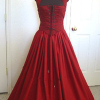 Blood Red Renaissance Bodice and Skirt Dress or by desree10