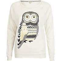Cream embellished owl print dolman top
