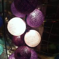 20 x Purple tones color cotton ball Bali string light patio outdoor decoration deco room bedroom wedding patio party Beach balcony