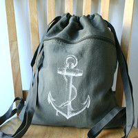Anchor Backpack Olive Green Canvas Screen