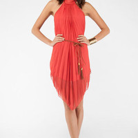 Make Ends Pleat Dress in Orange :: tobi