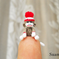 Sock Monkey Pom Pom Hat - 1 Inch Tiny Crocheted Gray Sock Monkeys - Made To Order