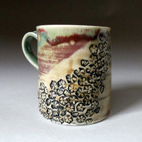 Ceramic Coffee Mug Handmade Porcelain Cup Green by zmedceramics