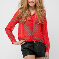 Blue Leaves Blouse in Red :: tobi