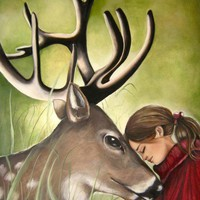 art print with deer and child