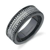 Rounded Edge 7 mm Comfort Fit Mens Black Ceramic and Tungsten Combination Wedding Band Ring Size 8