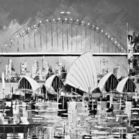 Black  &amp; White Sydney Opera House Fineart Print by Borettoart