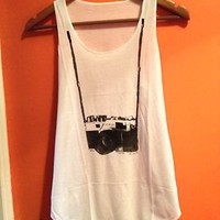 Ladies womens Girls Top Nikon print Tank Vest Sleeveless T Shirts