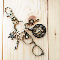 Charm Keychain, Glasses And Vintage Clock | Luulla