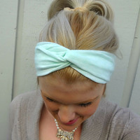 Mint green twist headband  turban  head wrap by VintageBowBoutique