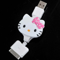 Retractable Dock Connector to USB Power & Data Cable for iPhone iPod - Hello Kitty $3.18 - Free Shipping, iPhone Cables