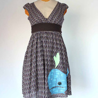 cotton whale dress - women's small - brown fishscale pattern day dress w/ full skirt  - applique blue whale - upcycled clothing