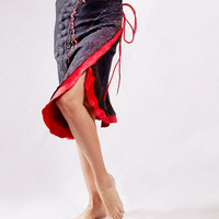 Black and red wrap skirt dress tunic corset felted by Baymut