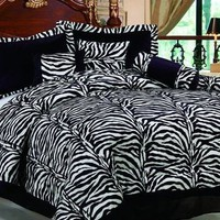 Imperial 7 Piece Luxurious Black Pillows Zebra Micro Fur Comforter Set King Size...