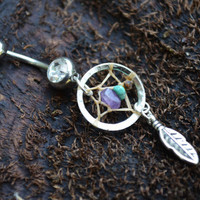 dreamcatcher belly ring turquoise and  amethyst in native american tribal boho hippie belly dancer and hipster style