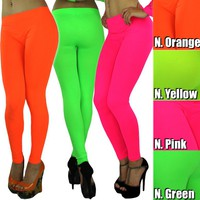 Color Your World With A Beautiful Neon Color Leggings Tregging Pant NoSeeThrough